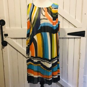 Trulli for AT Colorful Pleated Dress w/Tie Sz 12